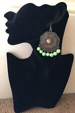 Boho Tibetan Style Antique Chandelier earrings with lime green bead fringing