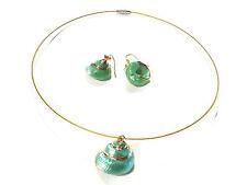 Bijou  acier  parure collier torque+ boucles d'oreilles coquillage finery