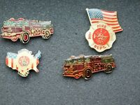 VINTAGE 4 METAL PINS  FIRE DEPARTMENT ENGINE TRUCK FLAG AMERICA'S BRAVEST