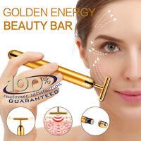 24K Gold Beauty Bar Facial Roller Vibration Massage Face Skincare Lift Face Firm