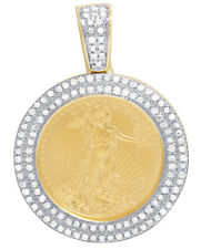 Mens 10K Yellow Gold Statue Of Liberty 24K Coin Real Diamond Charm Pendant .45CT