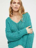 Free People NWT Slouchy Knit Sweater Size XS/ Small S  NEW Retro Green