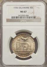 "1936 50C Delaware Tercentenary Silver Commemorative NGC MS67   ""Superb Gem"""