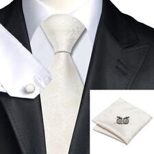 Mens Gold White & Ivory Paisley 100 Silk Wedding Tie Handkerchief Cufflink Set