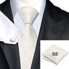 Mens Gold, White & Ivory Paisley 100% Silk Wedding Tie Handkerchief Cufflink Set