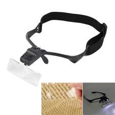 Headband Headset LED Head Light Jeweler Magnifier Magnifying Glass Loupe +5-Lens