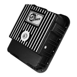 aFe 46-70242 Cover Transmission Pan 04-12 Chevy/GMC Black Machined Fins