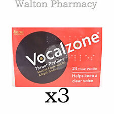 Vocalzones Vocalzone Throat Pastilles Helps keep clear Voice fast del 3 X 24