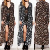 ZANZEA Women Leopard Print Long Maxi Beach Cardigan Open Front Jacket Coat Plus