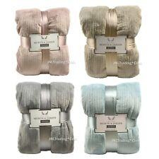NEW Monte & Jardin Ultra Soft Warm Velvet Blanket Blue/Tan/Rose/Gray King/Queen