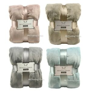 NEW Monte & Jardin Ultra Soft Warm Velvet Blanket Blue/Tan/Rose/Gray King/Queen