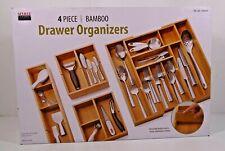 Seville Classics Expandable Bamboo Drawer Organizer Tray Set - 4 piece