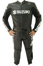 Suzuki GSX Black Motorcycle Leather 2 Piece Suit Biker Jacket Trouser Men XS-3XL