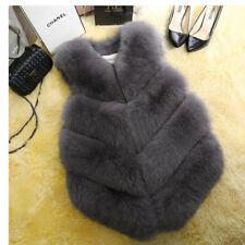 UK Faux Fox Fur Waistcoat Women's Warm Gilet Outwear Long Slim Vest Jacket Coat Dark Grey 2xl
