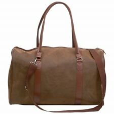 "21"" Brown Vegan Leather Duffle Tote Bag Gym Travel CarryOn Mens Satchel Luggage"