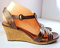 Clarks Wedge Sandals Womens Size 8.5 Brown Leather Shoes