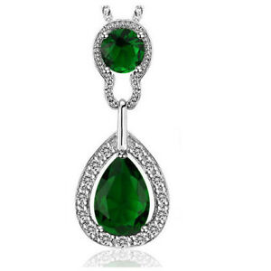 Silver necklace for ladies Emerald Green Crystal Stone Vintage Jewellery Women