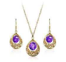 Elegant Gold Purple Cubic Zirconia Waterdrop Pearl Hollow Set Earrings Necklace