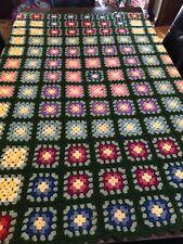 Vintage Granny Square Afghan 68x58 Multi-Color Throw Blanket Handmade
