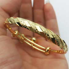 Gold Color Meteor Embossing with Bells Charms Adjustable Bangle for Baby Toddler