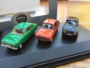 OXFORD 76SET70 Set of 3 FORD ESCORT MK1 MK2 XR3i model cars black green red 1:76