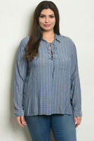 Womens Plus Size Denim Top 1X Long Sleeve Lace Up