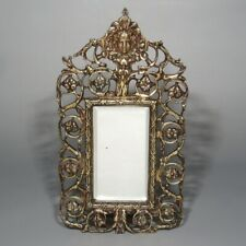 Antique French Cutwork Bronze Beveled Mirror, Woman's Face Head, 19th century