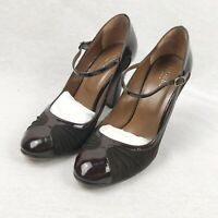 Hobbs Brown Leather & Suede Mary Jane Court Shoes Heels UK Size 6 39