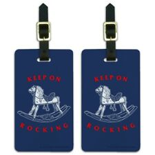 Keep on Rocking Horse Funny Humor Luggage ID Tags Carry-On Cards - Set of 2