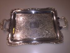 """VINTAGE WM ROGERS SILVERPLATE EAGLE STAR LARGE SERVING TRAY 290 14 3/4 x 18 1/2"""""""
