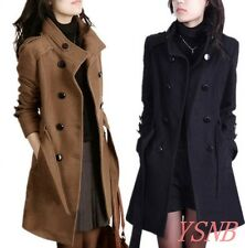 Women's Double Breasted Stand Collar Belted Woolen Coat Ladies Mid Long Jacket