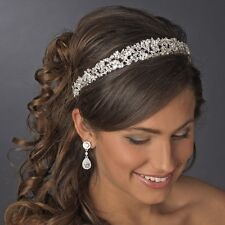 Silver Clear CZ Crystal Rhinestone Bridal Wedding Tiara Headband Headpiece