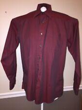 Roberto Villini Dress Shirt Button Down Collezione Cotton 16 34/35 Maroon Red