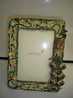 PAPYRUS PHOTO PICTURE FRAME HOLDS 4'X6' PHOTO PEACOCK RHINESTONES ENAMELWORK
