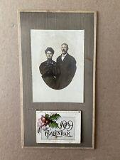 1909 Calendar Antique Unused Real Photo Couple Christmas