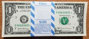 2017A Unc pack of 100 $1.00 Federal Reserve STAR Notes - consecutive numbers!