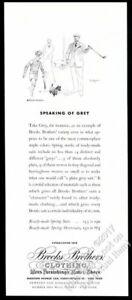 1936 Paul Brown golfing man & little dog art Brooks Brothers vintage print ad