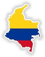Sticker Silueta Colombia Mapa Bandera Para Parachoques Guitarra Patineta Locker Tablet