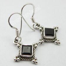 """925 Pure Silver Dazzling BLACK ONYX WOMEN'S FRENCH HOOK Earrings 1.2"""" Online"""