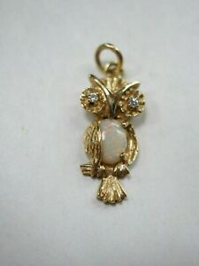 14K Solid Gold OWL PENDANT CHARM DIAMONDS and OPAL