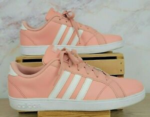 Adidas Youth Baseline Pink White Athletic Tennis Shoes Sneakers Sz 7