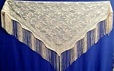 Victorian Style Nude Color Fringe Lace Shawl