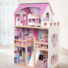 Modern Wooden Kids Dolls House Large Dolls House +17PCS Furniture Barbie Doll