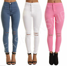 WOMENS HIGH WAISTED SKINNY Slim JEANS RIPPED JEGGINGs  Ladies Pants S M L 6-16