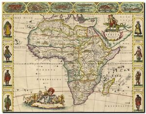 """Vintage Illustrated Old World Map of Africa and tribes CANVAS PRINT 24""""X 36"""""""