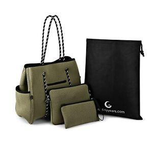 3 PIECE SET Neoprene Tote Bag W/ Matching Pouch & Crossbody GREEN