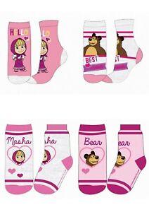 Girls Kids Children Masha and the Bear 2 Pairs Socks UK 6-2 EU 23-34
