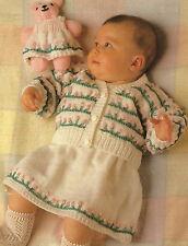 "Baby Cardigan, Dress, & Toy Teddy with flowers Knitting Pattern 16-22"" DK 660"