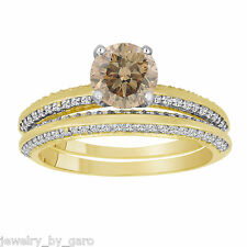 CHAMPAGNE FANCY BROWN DIAMOND ENGAGEMENT RING WEDDING BAND SETS 14k YELLOW GOLD
