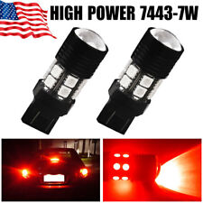 YITAMOTOR 7443 Red High Power 7W Projector LED Brake Tail Stop Light Bulbs 7440